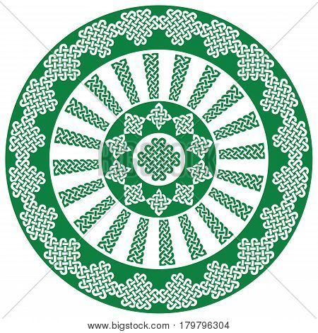 Mandala style Celtic style endless knot symbols in white and green  inspired by Irish St Patrick's Day, and Irish and Scottish carving art