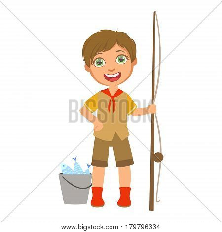Happy boy scout with a fishing rod and bucket, a colorful character isolated on a white background
