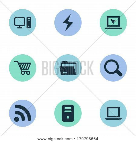 Vector Illustration Set Of Simple Notebook Icons. Elements System Unit, Magnifier, Computer And Other Synonyms Site, Wireless And Computer.