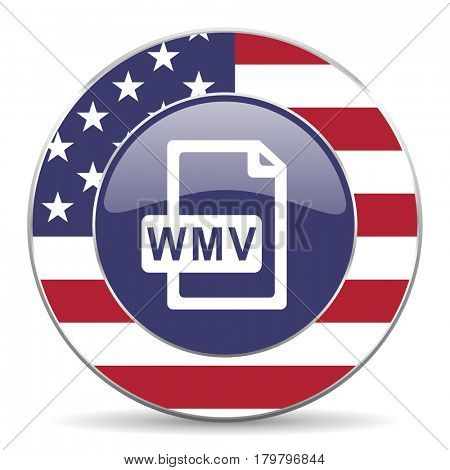Wmv file usa design web american round internet icon with shadow on white background.