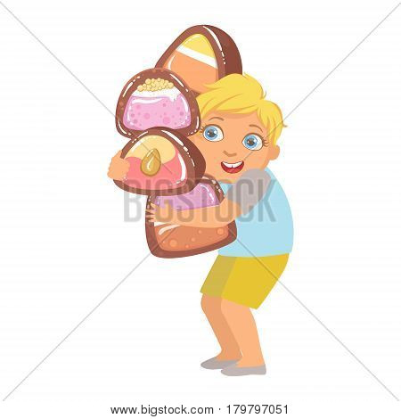 Little boy carrying big heavy candies, a colorful character isolated on a white background