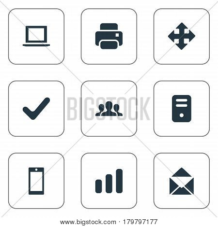 Vector Illustration Set Of Simple Application Icons. Elements Computer Case, Printout, Notebook And Other Synonyms Enlarge, Touchscreen And Smartphone.