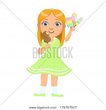 Pretty baby girl kid holding ice cream, a colorful character isolated on a white background