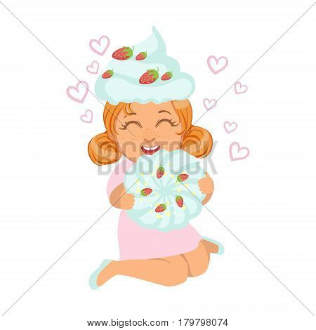 Small girl sitting and laughing in a marshmallow cap, holding a souffle in her hands, a colorful character isolated on a white background