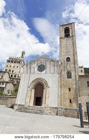 Gubbio Palazzo dei Consoli and church view