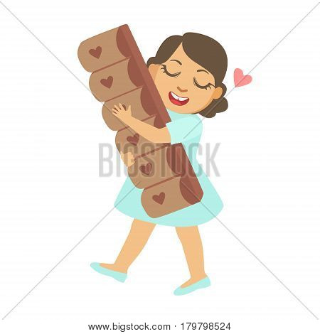 Happy little girl carring a big chocolate bar, a colorful character isolated on a white background