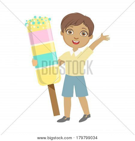 Happy little boy holding a huge ice cream, a colorful character isolated on a white background