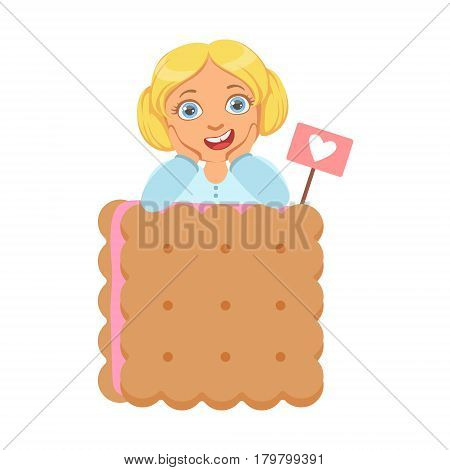 Smiling little girl with a huge biscuit, a colorful character isolated on a white background