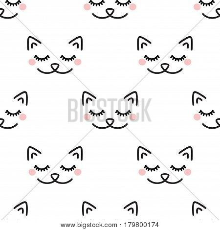 Sleepy Cat. Seamless vector pattern on white background