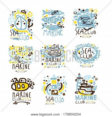 Sea club, marine club set for label design. Journey, summer holidays, beach parties, cruises colorful vector Illustrations for use in the tourist industry