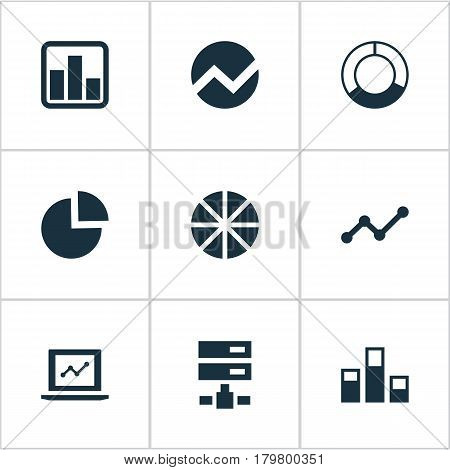 Vector Illustration Set Of Simple Information Icons. Elements Statistics, Economy, Growth And Other Synonyms Statistics, Pie And Cycle.