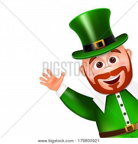 Leprechaun cartoon character peeking. Saint Patricks Day Card. Vector illustration.