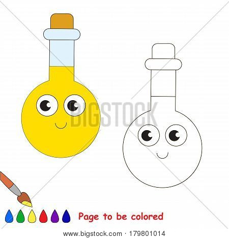 Funny Beautiful Tube Vial with yellow liquid to be colored, the coloring book for preschool kids with easy educational gaming level.