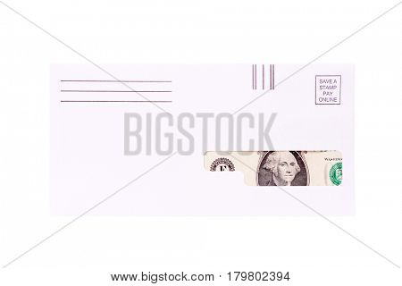 Money seen through the window of an envelope. isolated on white with room for your text.