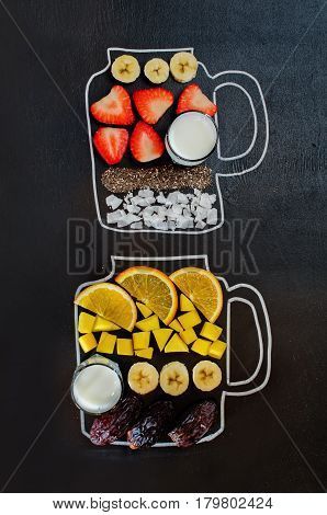 smoothies ingredients on the black chalk background