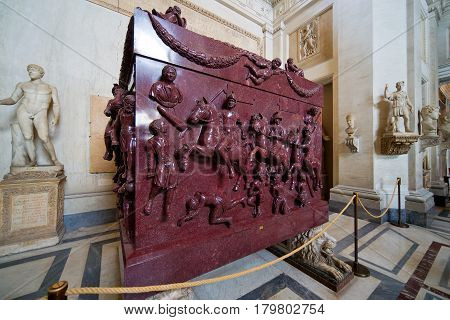 VATICAN - MAY 14, 2014: Porphyry sarcophagus of the family of Emperor Constantine the Great in the Vatican Museum, Rome.