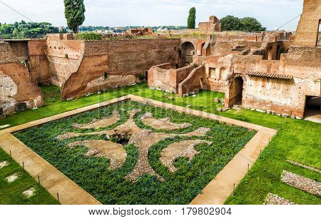 Ruins of the ancient roman House of Augustus on the Palatine Hill in Rome, Italy