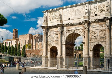 ROME - OCTOBER 10, 2012: Antique arch of Constantine, Rome, Italy.
