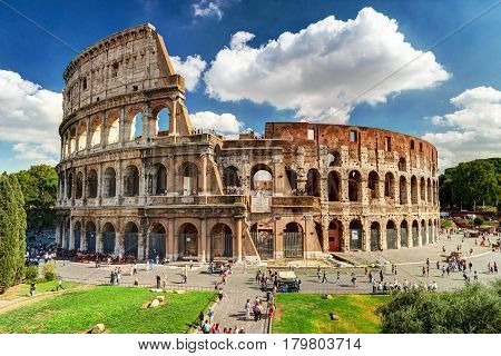 ROME, ITALY - OCTOBER 5, 2012: The famous Colosseum (Coliseum) in Rome.