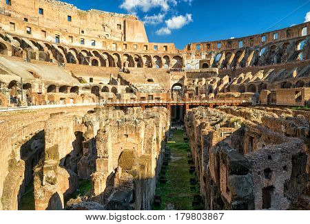 ROME - OCTOBER 4, 2012: Arena Colosseum (Coliseum). The Colosseum is an important monument of antiquity and is one of the main tourist attractions of Rome.