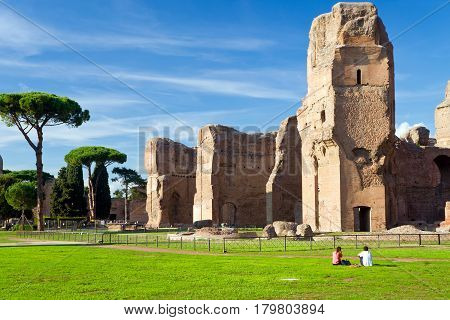 ROME, ITALY - OCTOBER 5, 2012: The ruins of the Baths of Caracalla, ancient roman public baths Rome.