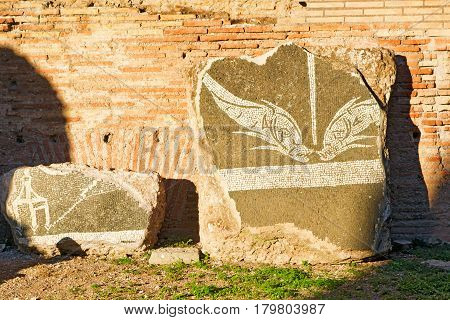 ROME, ITALY - OCTOBER 5, 2012: Part of the decoration of Baths of Caracalla in Rome.