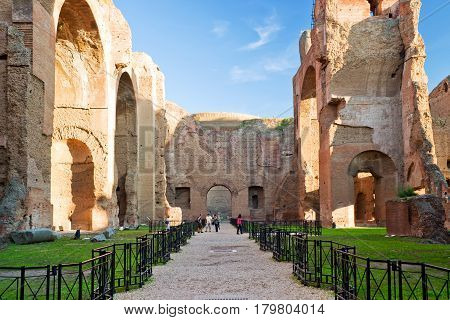 ROME, ITALY - OCTOBER 5, 2012: The Baths of Caracalla, ancient roman public baths in Rome.