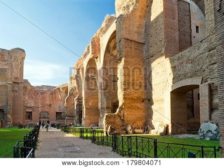 ROME, ITALY - OCTOBER 5, 2012: The Baths of Caracalla ancient roman public baths in Rome.