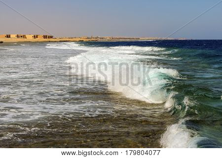 Landscape with views of the coast of the Red Sea in Egypt