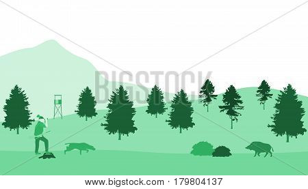 Hunter with dog and boar in green landscape.