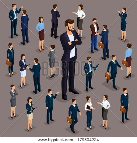 Isometric people businessmen 3D business woman. Set 4 Office staff the crowd of people under the head on a dark background.