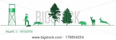 Hunt. Hunter with dog, boar, deer and trees. Green shade.
