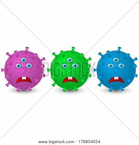 Sad and frightened microbes on a white light background. Multi-colored microorganisms in the cartoon 3d style.