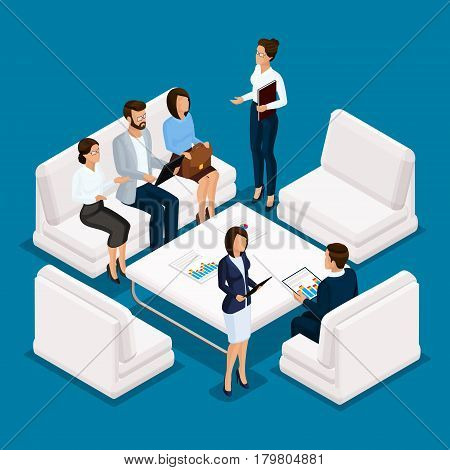 Isometric people businessman 3D business woman. Office staff of furniture sofas desk discussion brainstorming on a blue background.