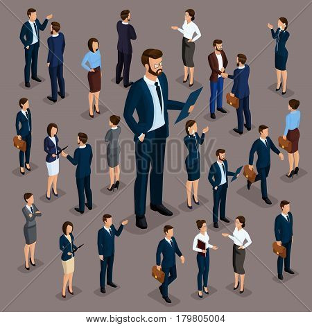 Isometric people businessmen 3D business woman. Set 6 Office staff the crowd of people under the head on a dark background.