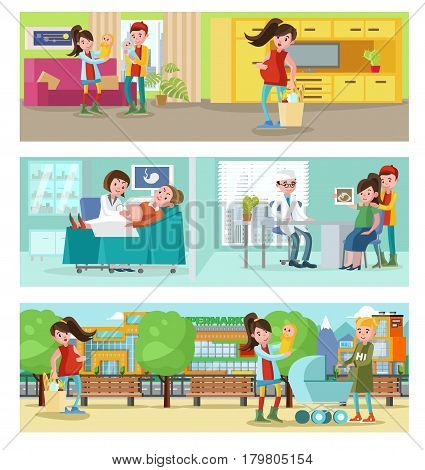 Pregnancy horizontal banners with pregnant woman at home walk and on medical investigation vector illustration