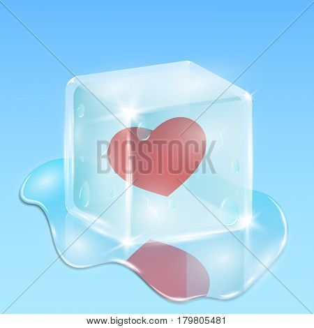 Frozen in a cube of ice heart. Waiting for love. Composition on the day of the holy valentine. A pool of water and drops everywhere