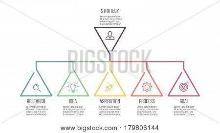 Business infographics. Presentation with 5 steps, options. Hierarchical infographic template.
