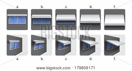 Icons awning canopy shadow on white background