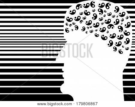 The profile of the person on the interpolated background. Process thinking symbolized by the symbols of Yin and Yang.
