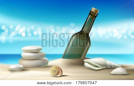 Vector illustration of empty glass bottle lying on a sandy beach with seashells and pebbles against a turquoise tropical sea and sky. Poster on the topic of environmental pollution in realistic style