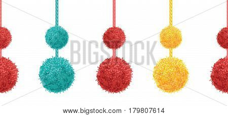 Vector Colorful Decorative Double Pompoms Big and Small Set With Ropes Horizontal Seamless Repeat Border Pattern. Great for handmade cards, invitations, wallpaper, packaging, nursery designs. Surface pattern design.