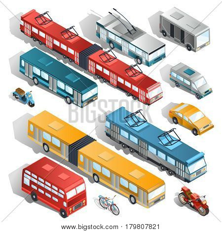 Set of vector isometric illustrations of municipal city transport buses, trolley bus, tram, taxi, shuttle taxi, motorcycle, scooter, bicycle
