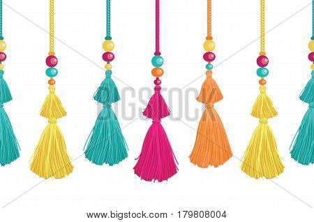 Vector Vibrant Decorative Tassels, Beads, And Ropes Horizontal Seamless Repeat Border Pattern. Great for handmade cards, invitations, wallpaper, packaging, nursery designs. Surface pattern design.