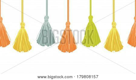 Vector Long Hanging Decorative Tassels Set With Ropes Horizontal Seamless Repeat Border Pattern. Great for handmade cards, invitations, wallpaper, packaging, nursery designs. Surface pattern design.