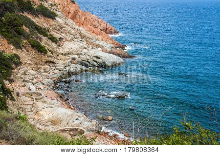 Rocky coast archipelago sardegna or Sardinia island Italy