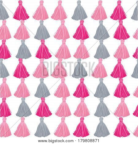 Vector Pink and Grey Decorative Tassels Rows Seamless Repeat Pattern Background. Great for handmade cards, invitations, wallpaper, packaging, nursery designs. Surface pattern design.