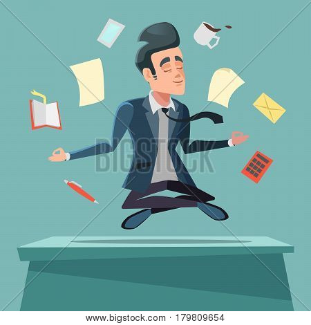 Businessman in Nirvana at Office Work. Man Meditating. Vector cartoon illustration