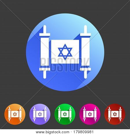 Torah jewish scroll book icon flat web sign symbol logo label set