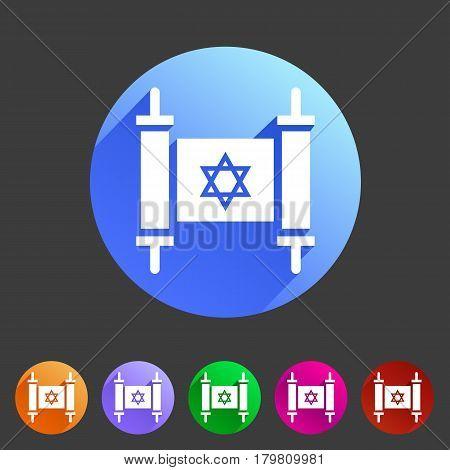 Torah jewish scroll book icon flat web sign symbol logo label set